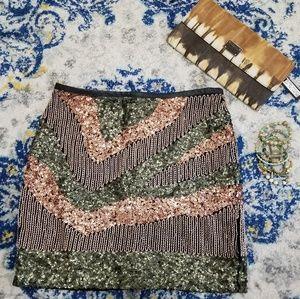 H&M Sequin Mini Skirt Black Green Rose Gold 6